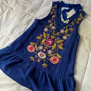 ENTRO Bright Blue Embroidered Skirted Shirt